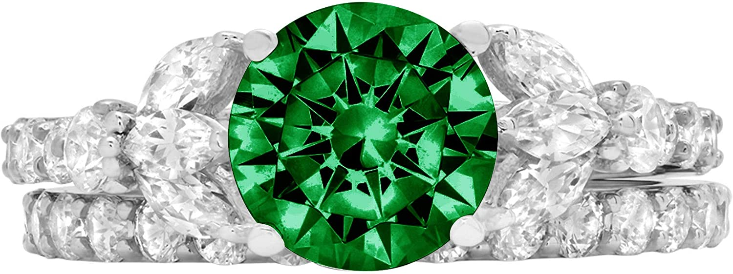 2.72ct Round Marquise Cut Solitaire 3 stone Accent Flawless Simulated CZ Green Emerald Engagement Promise Statement Anniversary Bridal Wedding Designer Ring Band set Solid 14k White Gold