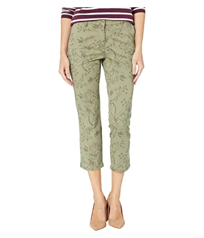Tribal Printed Twill Fly Front Capris (Sage) Women