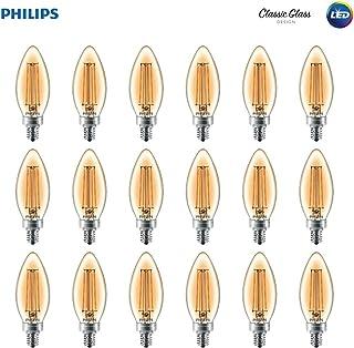 Philips LED B11 Dimmable Candle Light Bulb with Warm Glow Effect: 180-Lumen, 2700-2200 Kelvin, 2.5-Watt (25-Watt Equivalent) Glass Candle Light Bulb, E12 Candelabra Base, Soft White, 18-Pack