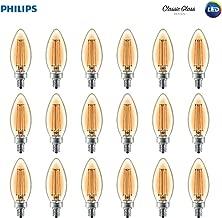 Philips LED B11 Warm Glow Dimmable 300-Lumen, 2700-2200 Kelvin, 4-Watt (40-Watt Equivalent) Classic Glass Candle Light Bulb with E12 Candelabra Base, Soft White, 18-Pack