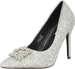 5da636bea CAPE ROBBIN Womens Pointy Toe Stiletto Heel Glitter Rhinestone Crystal  Embellished Pump Sandals