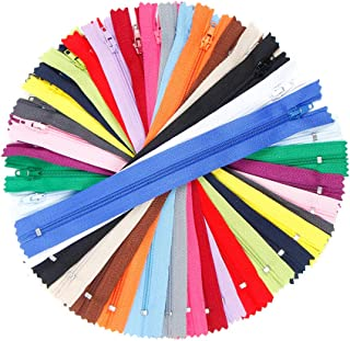TIMESETL 9-Inch #3 Nylon Coil Zipper Bulk 125pcs 20 Colors Closed End for Tailor Sewer Sewing