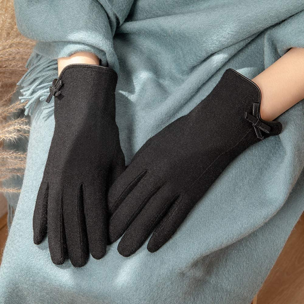 Rebily Autumn and Winter Ladies Gloves Butterfly Knot Wool Blend Touch Screen Keep Warm Cold Protection One Size Full Finger Gloves