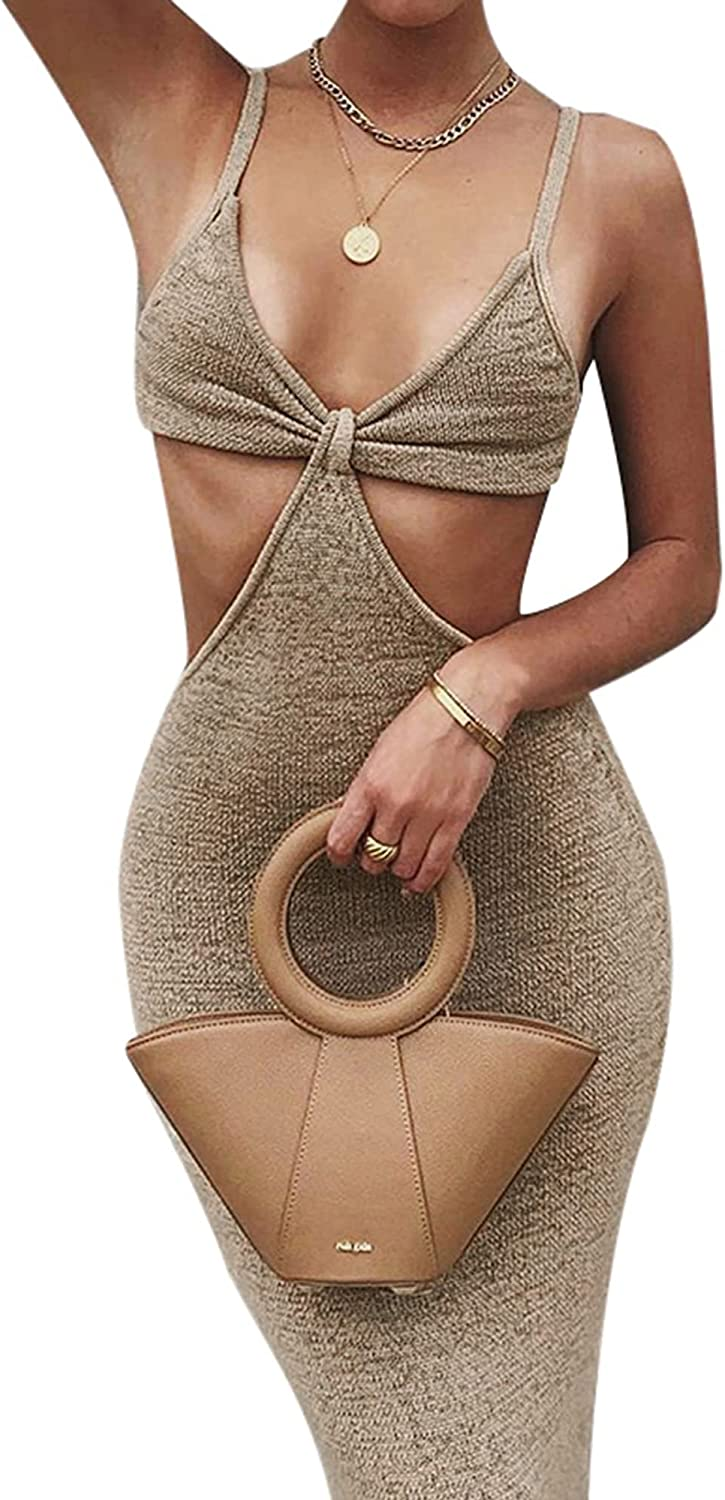 Womens Sexy Knitted Cut Out Dress Spaghetti Strap V Neck Backless Long Maxi Dress Club Party Y2K Streetwear