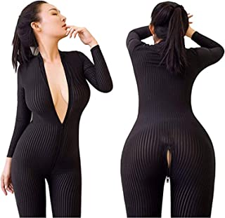 3bbbe431a2 Amuhou Womens Open Crotch Jumpsuits Perspective Sexy Zipper Long Sleeves  Catsuit Bodysuit Clubwear