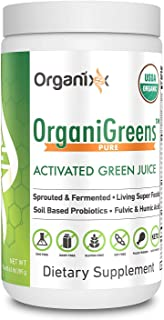 Green Powder Supplement with Probiotics - Organic - 71 Superfoods in 1 - 4X the Vitamins and Minerals of Other Green Drinks - Organigreens by Organixx (Pure) - 30 Servings