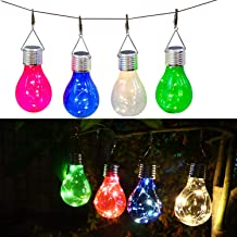 Solar Bulb Outdoor Waterproof Garden Camping Hanging LED Bulb Globe Hanging lamp Yard Parasol Christmas Party Holiday Deco...