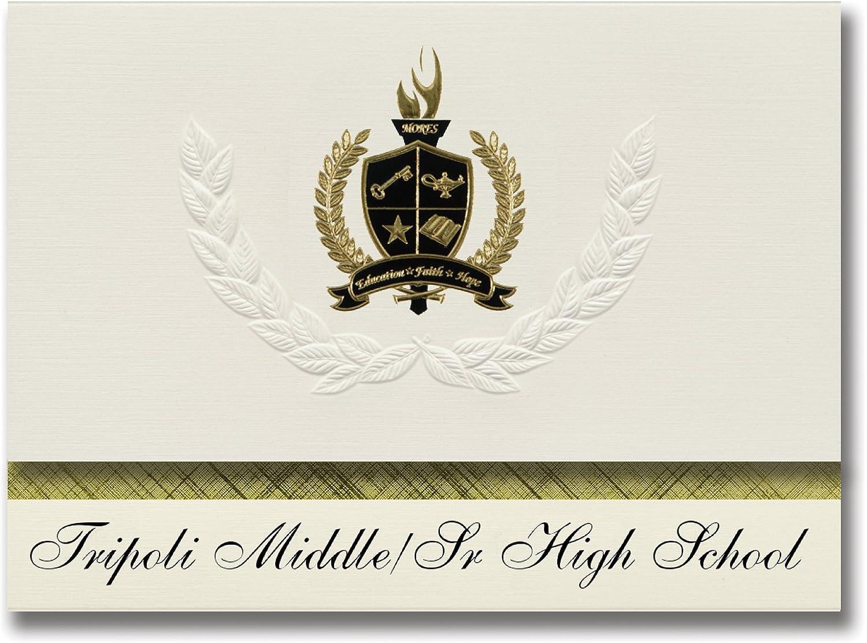 Signature Signature Signature Announcements Tripoli Middle Sr High School (Tripoli, IA) Abschlussankündigungen, Präsidential-Stil, Grundpaket mit 25 Goldfarbenen und schwarzen metallischen Folienversiegelungen B0795VYDL8 | Vorzugspreis  6143fa