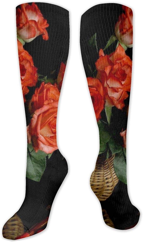 Rose Vase Still Life Knee High Socks Leg Warmer Dresses Long Boot Stockings For Womens Cosplay Daily Wear