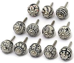 OwlKraft Vintage Door knobs Set of 12 Small ( 1 inch ) Handmade Black and White Round Shape Ceramic Knobs - Cabinet knobs...
