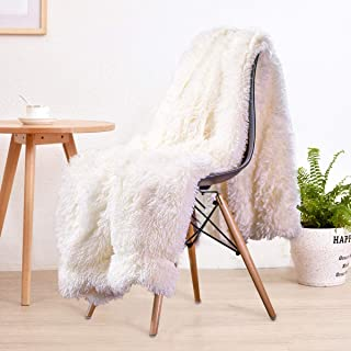 LOCHAS Super Soft Shagge Faux Fur Blanket Plush Fuzzy Bed Throw Decorative Cozy Fluffy Blankets for Couch Chair Sofa (Cream White 63
