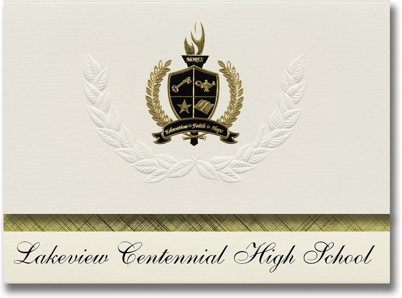 Signature Announcements Lakeview Centennial High School (Girlande, TX) Abschlussankündigungen, Präsidential-Stil, Grundpaket mit 25 Goldfarbenen und schwarzen metallischen Folienversiegelungen B0795ZM5XN | Zart