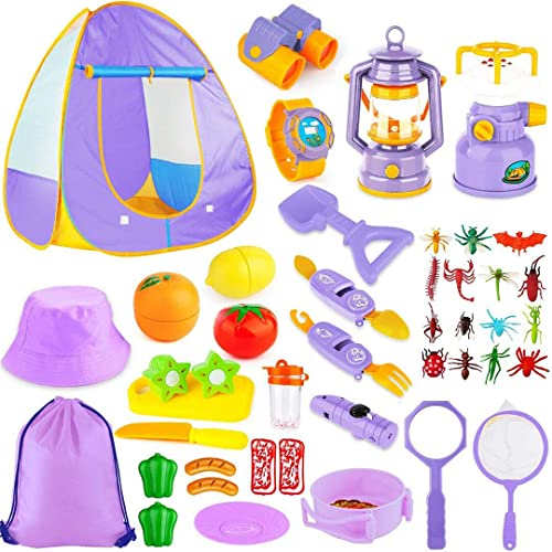 discount Kids Camping Tent Set Toys, MIBOTE 45pcs Pop Up wholesale Play outlet sale Tent with Camping Gear Indoor Outdoor Pretend Play Set for Toddler Boys Girls - Including Telescope, Walkie Talkie outlet online sale
