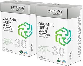 Organic Neem Leaves Powder by Merlion Naturals | Azadirachta indica | 454gm/ 16OZ/ 1lb | USDA NOP Certified 100% Organic (...