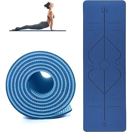 Tapete Antideslizante Yoga 6mm con lineas de alineación   Esterilla antiderrapante de alta calidad de TPE para yoguis, pilates, entrenamiento en casa, funcional y estiramientos con líneas de Guía
