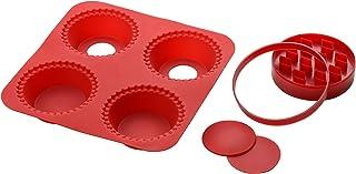 Premier Housewares-Machine à Tarte en Silicone 4 Moules/Emporte-pièces/Rouge