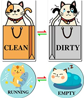 Dishwasher Magnet Clean Dirty Sign Empty Running Flip Sign Cat Reversible Double Sided Dishwasher Magnet Washer Reversible Indicator Kitchen Label (2)