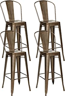 Nicemoods Metal Bar Stools Indoor-Outdoor Chairs,Modern High Backrest Industrial Metal Barstool,Bistro Style Bar Stools with Back Counter Height Stool Set of 4(Gun)