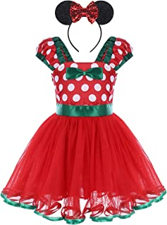 Girls Polka Dots Princess Dress up Costume with Ears Headband for Kids Baby Christmas Birthday Outfit Cosplay 1-5 Years