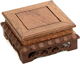 China brown Ji-chi wood rosewood carved flower design rectangle stand display