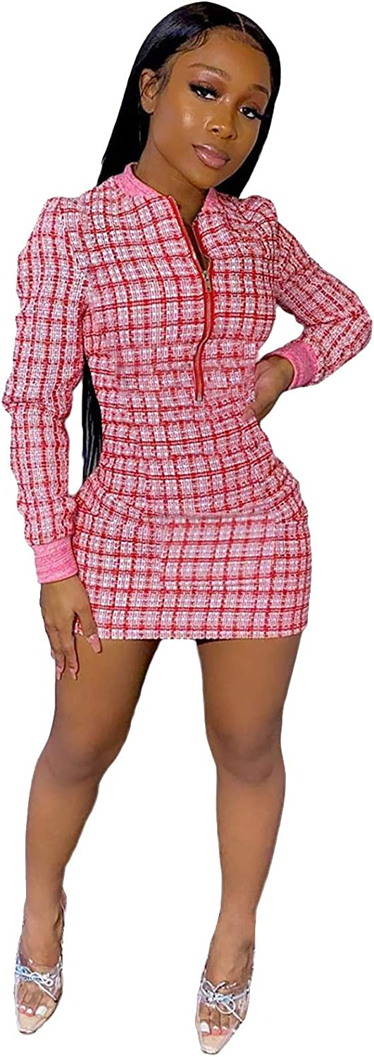 aliveGOT Womens Long Sleeve Sexy Leopard Dresses- Club Night Out Party Bodycon Dress with Fave-coverrings Red
