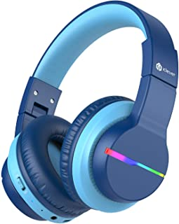 iClever BTH12 Kids Headphones, Colorful LED Lights Kids Wireless Headphones with 74/85/94dB Volume Limited Over Ear, 40H P...