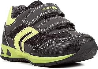 Geox Boy's Munfrey Leather BlackLime Double Velcro Sneaker