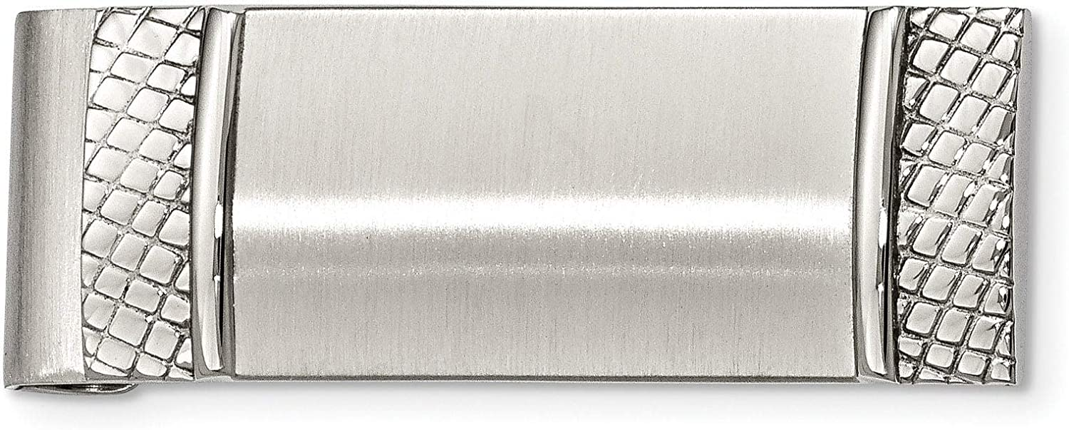 Stainless Steel Brushed and Selling rankings Weekly update Money Men's Clip Textured