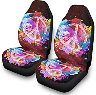 Peace and Love Car Seat Cover Waterproof Sweat Full Seat 2 Pcs Seat Accessories for Cars Minivan Cloth Bucket Seat Covers White 10 One Size