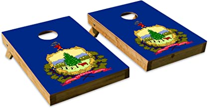 Vermont State Flag DesignCornhole/Bean Bag Toss Board Set – Made in USA Wood - 2'x3' Tailgate Size - Includes 8 Corn-Filled Bean Bags