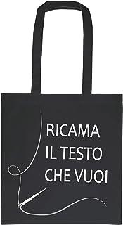 My Custom Style 50 Shopper Personalizzate Ricamo Cotone 300gr Nero 38x41 M70