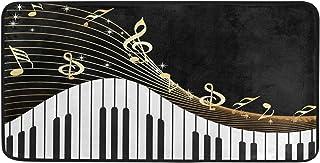 YKMustwin Kitchen Floor Mat Piano Keyboard Music Note Kitche