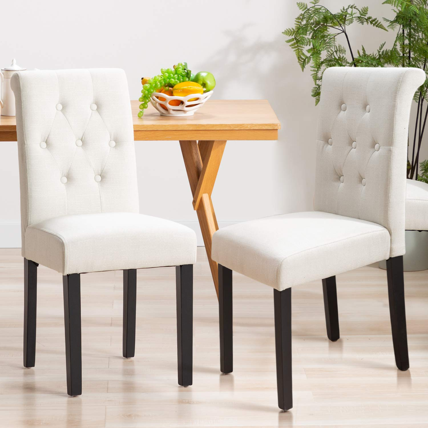 Bonzy Home Fabric Dining Chair, Kitchen Chairs Set of 4 for Home Kitchen,  Button Tufted Dining Room Chairs with Solid Wood Legs (Beige)