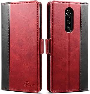 Xperia 1 ケース 手帳型 SO-03L SOV40 802SO スマホケース Rssviss エクスペリア カード収納 カバー 手帳 サイドマグネット スタンド機能付き 保護力抜群 高級PUレザ ー レッド(Sony Xperia 1対応)