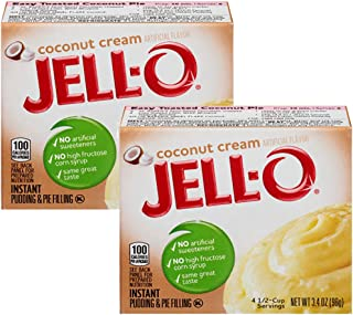 JELL-O Jello Instant Pudding and Pie Filling (Coconut Cream, 3.4 Ounce (Pack of 2)
