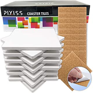 Best Ceramic Tiles for Crafts Coasters,12 Ceramic White Tiles Unglazed 4x4 with Cork Backing Pads, Use with Alcohol Ink or Acrylic Pouring, DIY Make Your Own Coasters, Mosaics, Painting Projects, Decoupage Review