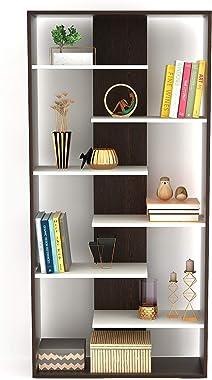 Bluewud Maxelle Floor Mounted Large Bookshelf (Frosty White & Wenge)