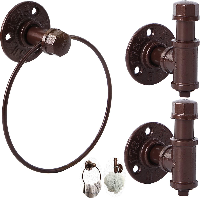 3 Pieces Industrial Pipe Bathroom SALENEW very popular! 2 Ro Hardware Accessories Set Luxury goods