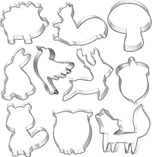 Woodland Cookie Cutter Set - Raccoon, Squirrel, Nut, Fox, Elk, Rabbit, Hedgehog, Dove, Owl, Mushroom, Forest Animal Cookie Cutters Molds for Kids (3inch, 10pack)