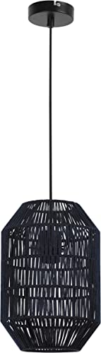Arsena Lampe suspension Tropical Design Métal textile Bleu 60 W