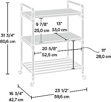 "Sauder Iron City Multi-Purpose Cart, L: 23.47"" x W: 16.81"" x H: 31.73"", Checked Oak Finish"