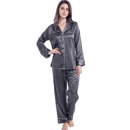 Serenedelicacy Women s Silky Satin Pajamas 2b7d182bc