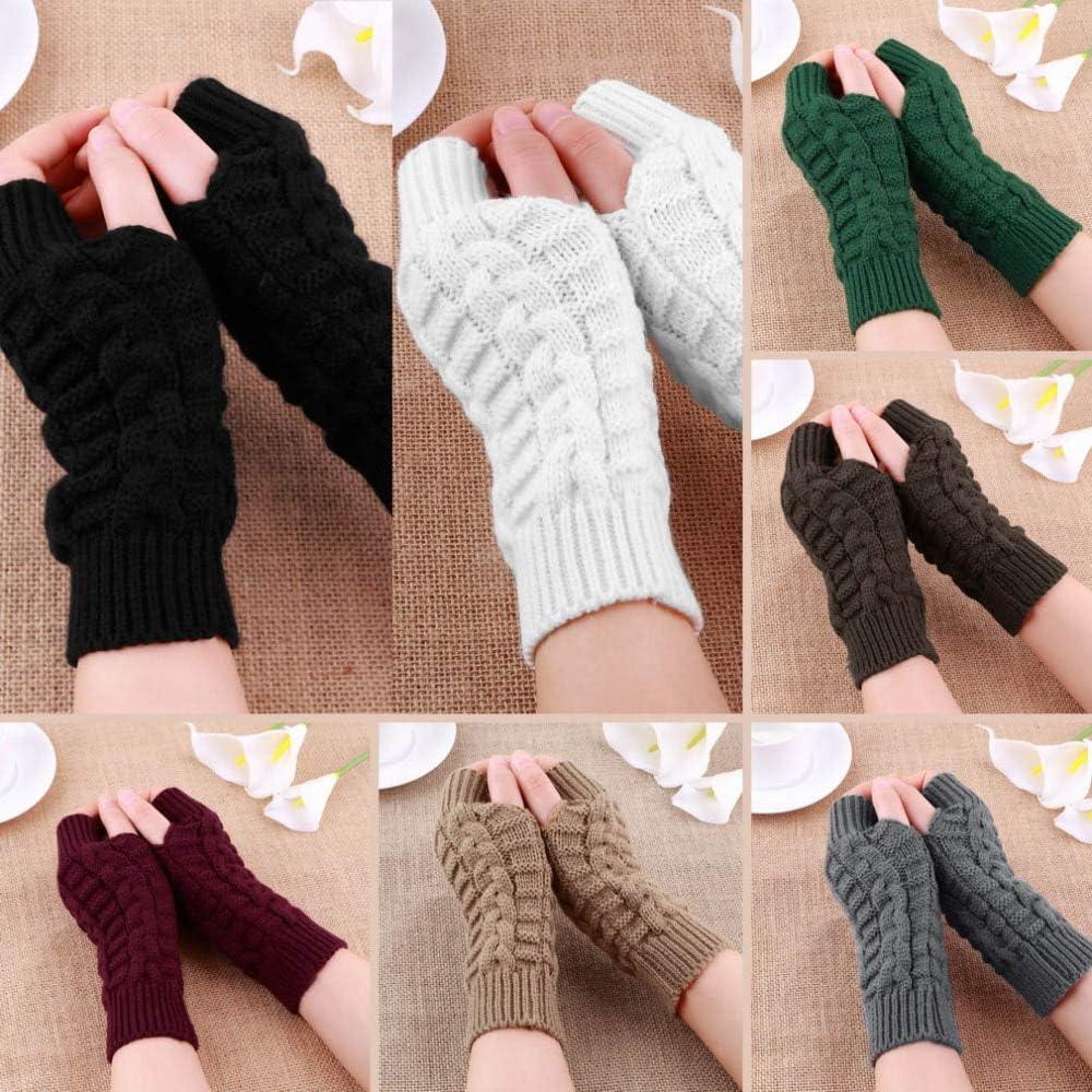 Women Warmth Knitted Fingerless Winter Gloves Soft Knitting Arm Gloves for Women Men Pretty Stylish Mittens Female Gloves - (Color: Deep Green 6)