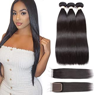 Beauhair Brazilian Straight Human Hair Bundles with Closure(10 12 14+10 Closure)100% Brazilian Straight Virgin Hair 3 Bundles with Lace Closure Free Part Hair Extensions Natural Black Color