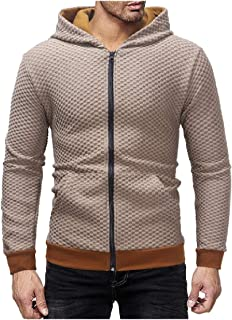 EnergyMen Zip-up Plaid Long Sleeve Hood Outwear Cardigan Tracksuit Top
