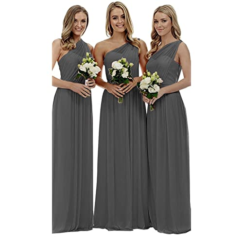 3da227380827 YORFORMALS Women's One-Shoulder Ruched Chiffon Bridesmaid Dress Long  Evening Party Gown