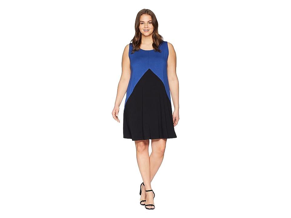 Karen Kane Plus Plus Size Color Block Dress (Blue/Black) Women