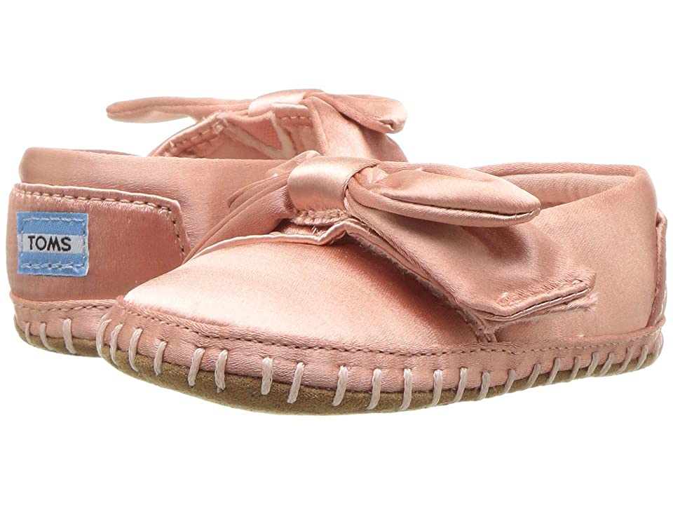 TOMS Kids Crib Alpargata (Infant/Toddler) (Rose Cloud Satin/Bow) Girl