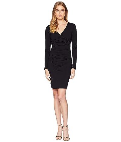 Susana Monaco Long Sleeve Gathered Wrap Dress (Black) Women