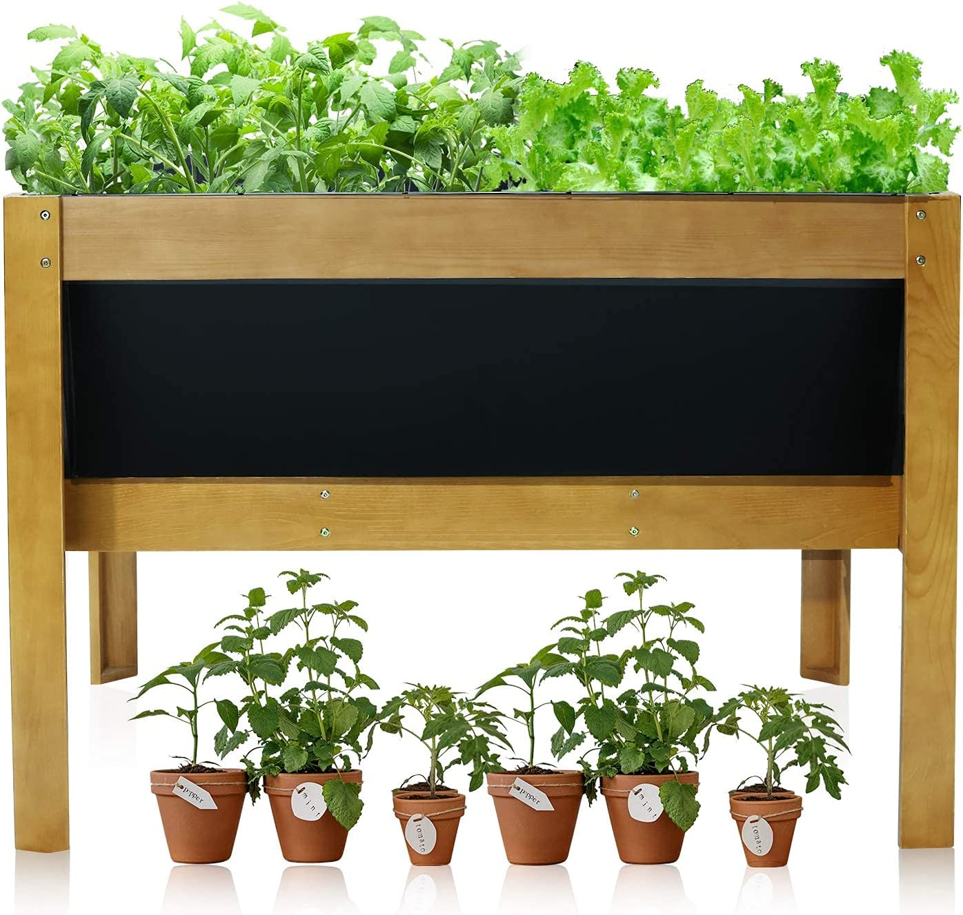 AOODOR Wooden Raised Garden Bed Kit Solid Wood and Metal Galvanized Elevated Planter Box for Vegetables, Flower, and Herbs Outdoor - 48
